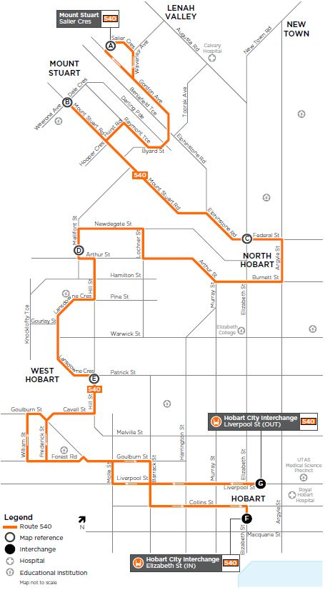 A map of the bus route